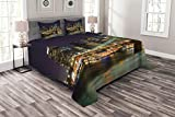 Ambesonne NYC Scene Bedspread, Nighttime Picturesque of Downtown New York City Busy Urban Vibes, Decorative Quilted 3 Piece Coverlet Set with 2 Pillow Shams, Queen Size, Dark Purple Multicolor