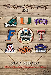 Pro Graphs 2016 NCAA Baseball College World Series The Road to Omaha 8 Team Print Poster