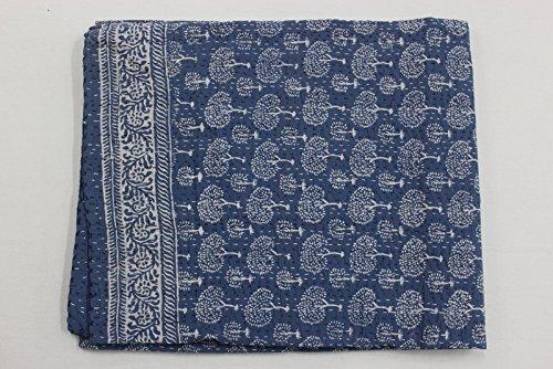 CRAFTOFPINKCITY indischen Handmade Quilt Baum Print Kantha Tagesdecke Baumwolle Decke Queen Size