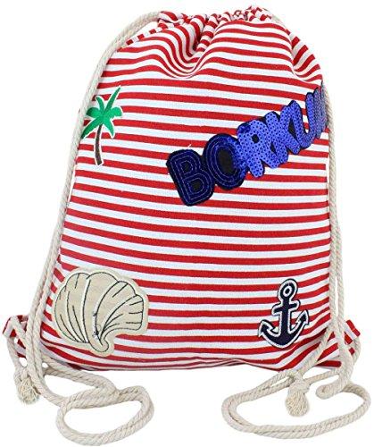 Sonia Originelli Patch Rucksack Borkum Tasche Bag Backpack Farbe Rot