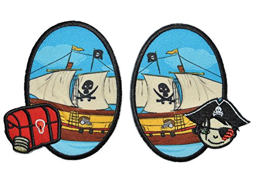 2 tlg. Set ovaler Flicken / Bügelbild - Piraten u. Piratenschiff - 8,5 cm * 10 cm - oval - Bügelbilder - Aufnäher zum Bügeln und Aufnähen / Applikation für Jungen Kinder Pirat