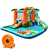 Costzon Inflatable Water Park, 7 in 1 Jungle Castle Bouncer w/ Two Slides, Climbing Wall, Basketball Rim, Splash Pool, Water Cannon, Including Repairing Kit, Stake, Ocean Ball( with 780W Air Blower)