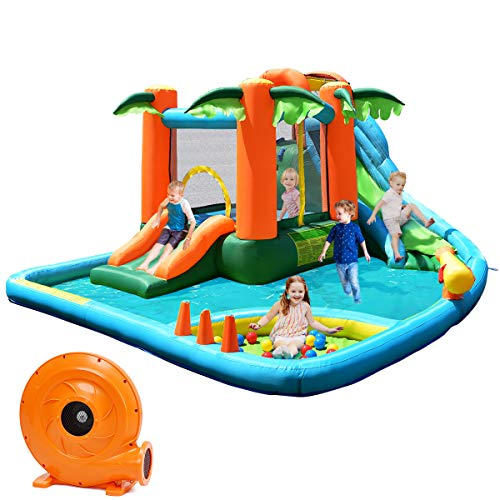 Costzon Inflatable Water Slide, 7 in 1 Jungle Water Park w/ Two Slides, Jumping Area, Climbing Wall, Basketball Rim, Splash Pool, Water Cannon, Castle Bounce House for Kids (with 780W Air Blower)