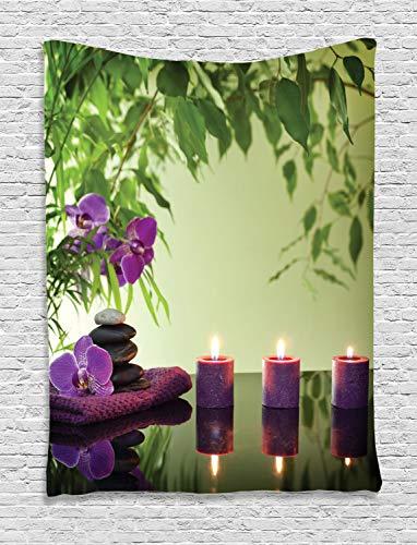 ABAKUHAUS Zen Tapiz de Pared, SPA Velas de orquídeas en Flor, para el Dormitorio Apto Lavadora y Secadora Estampado Digital, 150 x 200 cm, Helecho Verde Púrpura Verde Pálido