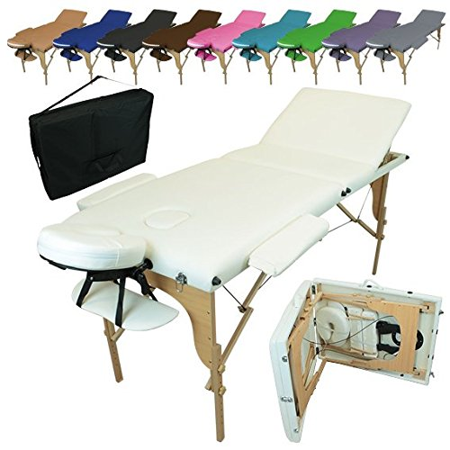 Linxor France  Table de massage pliante 3 zones en bois avec...
