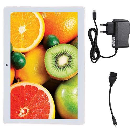 Tablet PC de 10,1 Pulgadas Procesador de Cuatro núcleos 64G de Almacenamiento 1080p Reconocimiento Facial GPS Computadora Tableta ultradelgada con Cable de Enchufe para Android 8.1(Enchufe de la UE)