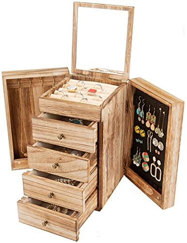 Meangood Joyero de madera para Wowen, caja organizadora grande de 5 capas con espejo y 4 cajones para anillos, pendientes, collares, madera con antorchas estilo vintage