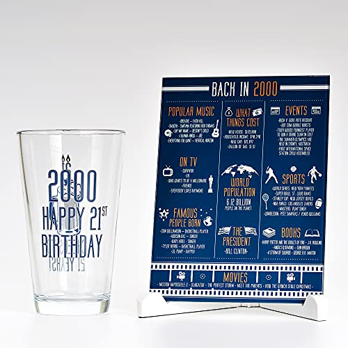 Happy Birthday Beer Glass (16 oz) & 2000 Birthday Year Facts Board Set | 21st Birthday Gifts for Men and Women | Cheers to 21 Years for Beer, Wine or Whiskey Lovers | Gifts for Him or Her
