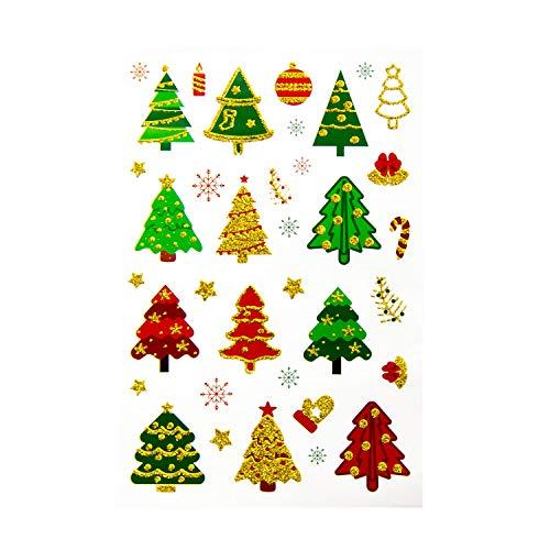 Oblique Unique® 36 Weihnachts Sticker Glitzer Xmas Aufkleber für Weinachten Tannenbaum Weihnachtsbaum Sterne Schneeflocken Weinachtskugel Weihnachtsdeko Bunt