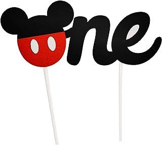 CHuangQi 1st Birthday Cake Topper, Happy Birthday Cake Banner, Baby Shower Mouse Inspired O-N-E Cake Topper for Boy & Girl...