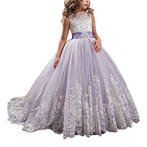 Princess Lilac Long Girls Pageant Dresses Kids Prom Puffy Tulle Ball Gown, 01lilac, 6