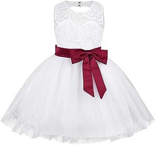 a2f2ead741854 Freebily Bébé Fille Robe Demoiselle d honneur Fête sans Manches Blanc  Dentelle Robe d