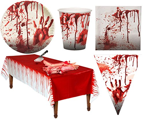 Karneval-Klamotten blutiges Tischdeko Party Set XXL Halloween Horror Blut 38 Teile Teller, Becher, Servietten, Tischdecke, Girlande