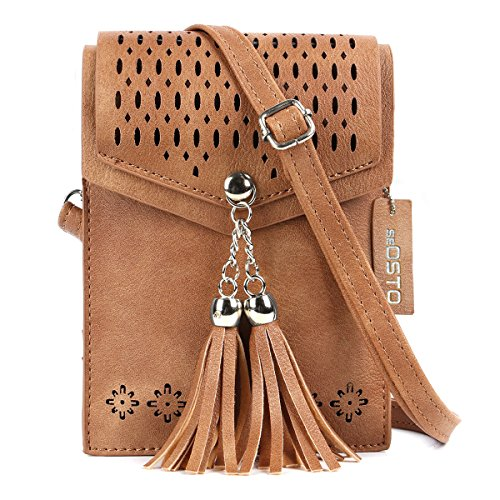 seOSTO Womens Small Crossbody Bag, Tassel Cell Phone Purse Holder Wallet Creative Birthday Gifts For Girls(Brown)