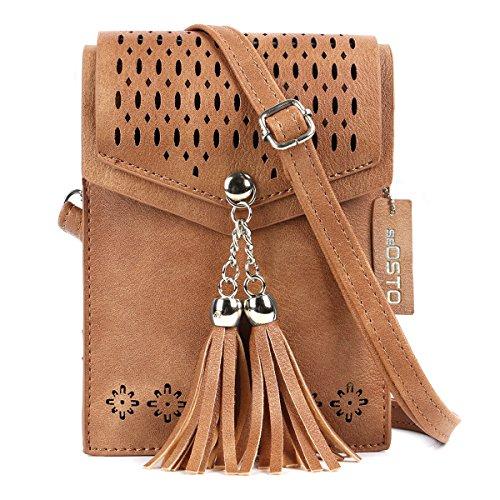 SeOSTO Frauen Mini Umhängetasche, Quaste Umhängetasche Handy Geldbörse Wallet (Braun-1)