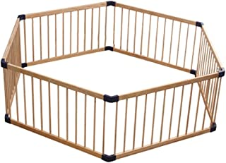Wooden Baby Playpen, Large Portable 6 Panel Kid Play Pen Fence for Indoor Home Children Activity Center Play (Size : 180cm...