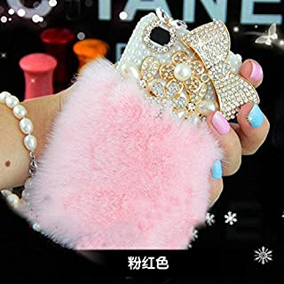 LU2000 iPhone 6 Plus Case, iPhone 6s Plus Case Furry Rex Rabbit Fur Fluffy Phone Case Bling Crystals Diamond Sparkle Bedazzled for iPhone 6/6s Plus 5.5 inch Screen + Phone Velvet Pouch - Pink