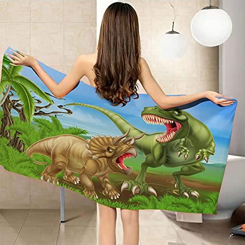 LHUTY Toalla de Playa Dinosaurio 90 x 180 cm Toalla de Microfibra Esterilla de Yoga, Seque Rápidamente, Absorbente,Prevención de Arena para Viaje, Picnic