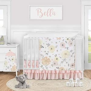 Sweet Jojo Designs Yellow and Pink Watercolor Floral Baby Girl Nursery Crib Bedding Set – 4 Pieces – Blush Peach Orange Cream Grey and White Shabby Chic Rose Flower Farmhouse Polka Dot
