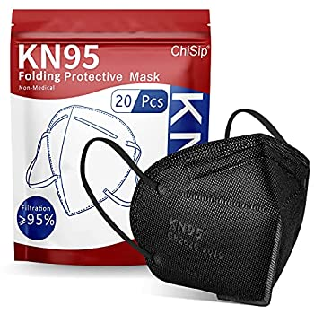 ChiSip KN95 Face Mask 5-Ply Cup Dust Safety Masks Breathable Protection Masks Against PM2.5 for Men & Women Black