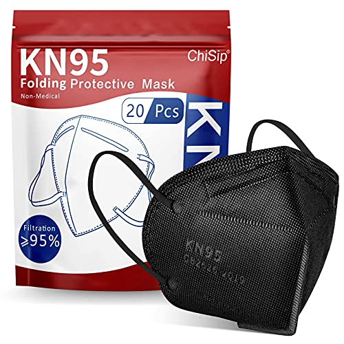 ChiSip KN95 Face Mask, 5-Ply Cup Dust Safety Masks, Breathable Protection Masks Against PM2.5 for Men & Women, Black