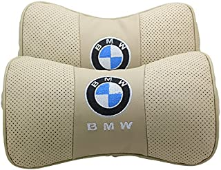 Wall Stickz Car Sales 2 PCS Genuine Leather Bone-Shaped Car Seat Pillow Beige Neck Rest Headrest Comfortable Cushion Pad with Logo Pattern Fit BMW Accessories