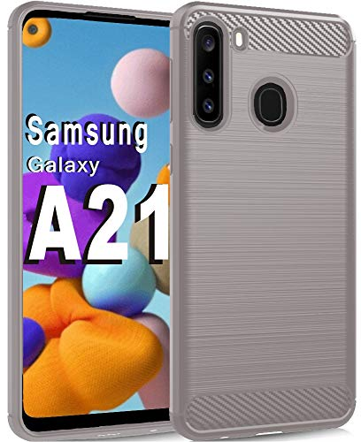 HNHYGETE Samsung Galaxy A21 Case Soft TPU Slim Shockproof Anti-Fingerprint Full Protective Phone Cases for A21 (2020) 6.5' (Gray)