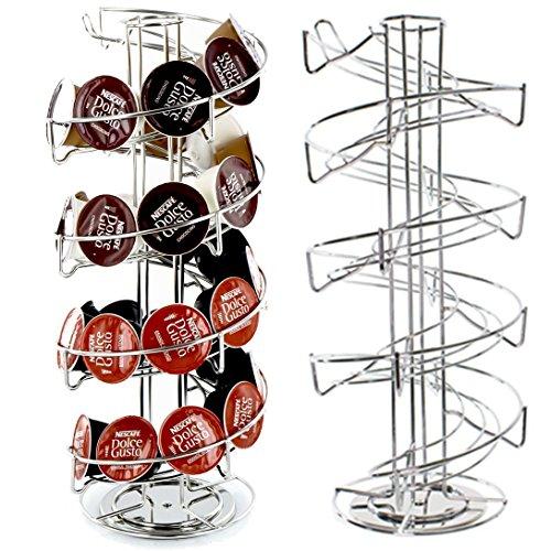 40 soportes de disco giratorio en espiral para Nescafe Dolce Gusto Nespresso y Tassimo cafeteras (torre dispensador de 40 cápsulas)