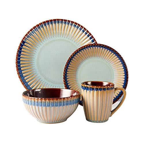 Juego Vajilla Conjunto de vajillas de cocina en relieve personalizada (4 piezas) Conjuntos de placa de cena de cerámica duradera, placas redondas creativas y cuencos para ensalada de carne plato hondo