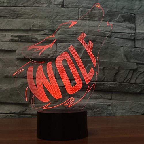 Kabeto Luces De La Noche 3D Visual Led Decoración Del Hogar Lobo Aullido 7 Cambio De Color Luz Nocturna Acrílico Animal Escritorio Lámpara De Mesa Sueño Lámparas Accesorios Para Niños Regalos