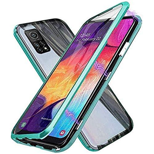 Funda para OnePlus 9, 360 Grados Delantera y Trasera de Transparente Vidrio Templado Case Cover, Fuerte Tecnología de Adsorción Magnética Metal Bumper Cubierta - Verde