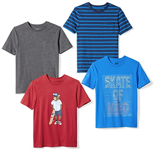Amazon Brand - Spotted Zebra Boy's Short-Sleeve T-Shirts, 4-Pack Skate of Mind, X-Small