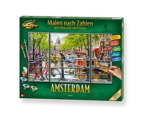 Schipper 609260812 Malen nach Zahlen, Amsterdam - Bilder malen für Erwachsene, inklusive Pinsel und Acrylfarben, Triptychon, 50 x 80 cm
