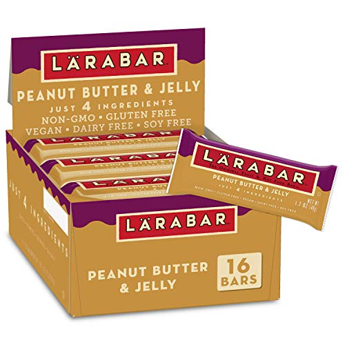 Larabar Peanut Butter and Jelly, Gluten Free Vegan Fruit & Nut Bar, 1.7 oz Bars, 16 Ct