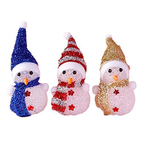 SOLUSTRE 3 Stücke LED Schneemann Figur Nachtlicht Kristall Acryl Dekofigur Weihnachtsdeko Beleuchtung Weihnachten Tischdeko Beleuchtet für Xmas Feengarten Deko Weihnachtsgeschenke