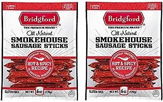 Bridgford Smokehouse Sausage Sticks | Hot & Spicy Recipe | 6 Oz Bag | Two Bags