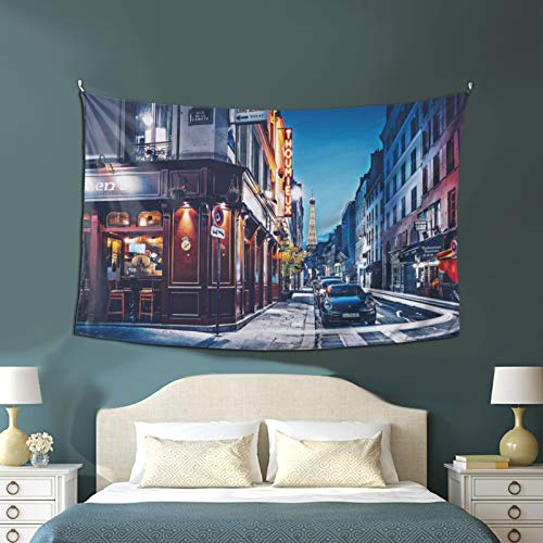 Art Tapestry, The Rue Saint Dominique Eiffel Tower Night Streets French Cities Tapestry 60x40 Inches Wall Large Tapestries Hanging For Dorm Room Living Home Decorative