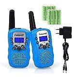 Funkprofi T-388 Walkie Talkie - Juego de 2 walkie-talkie para niños, PMR 446, con cable de carga, 3 KM, alcance de 8 canales, juguete y regalo para niños a partir de 3 años (azul)