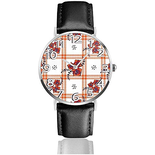 Armbanduhr Flower Checked Classic Casual Quarz Schwarz Leder Armbanduhr