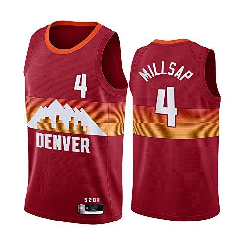 SHR-GCHAO Camiseta para Hombre, Camiseta De Baloncesto NBA Denver Nuggets # 4 Paul Millsap, Camiseta Cómoda Y Ligera Transpirable, Ropa Deportiva Sin Mangas,Rojo,L(175~180CM)
