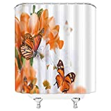 Flowers Butterfly Shower Curtains White Orange Beautiful Creativity Bathroom Decor Waterproof Polyester Fabric Home Bath Decor Supplies Blackout Hanging Shower Curtain Sets 69 x 70 Inch With Hooks