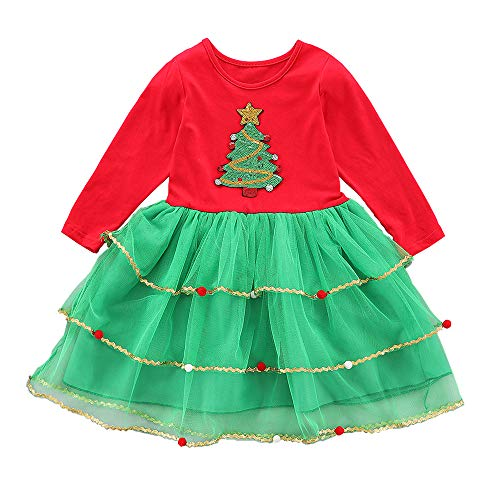 Toddler Kids Baby Girl Christmas One-Piece Dress Xmas Tree Outfit Tutu Skirt Clothes (Red, 1-2 Years)