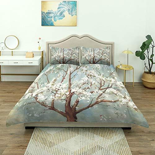 Dodunstyle Duvet Cover,Watercolor Plum Blossom Tree White Flowering Plant Theme, Bedding Set Comfy Lightweight Microfiber