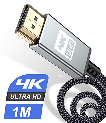 HDMI Kabel 1Meter 4K,Sweguard Highspeed 60hz 18Gbps HDMI 2.0 auf HDMI mit hernet/Audio Rückkanal,Kompatibel Mit UHD 2160p, 3D, HD 1080p, HDR, HDCP 2.2 ARC, Ethernet, PS4, Xbox, HDTV,Monitor (1M, GRAU)