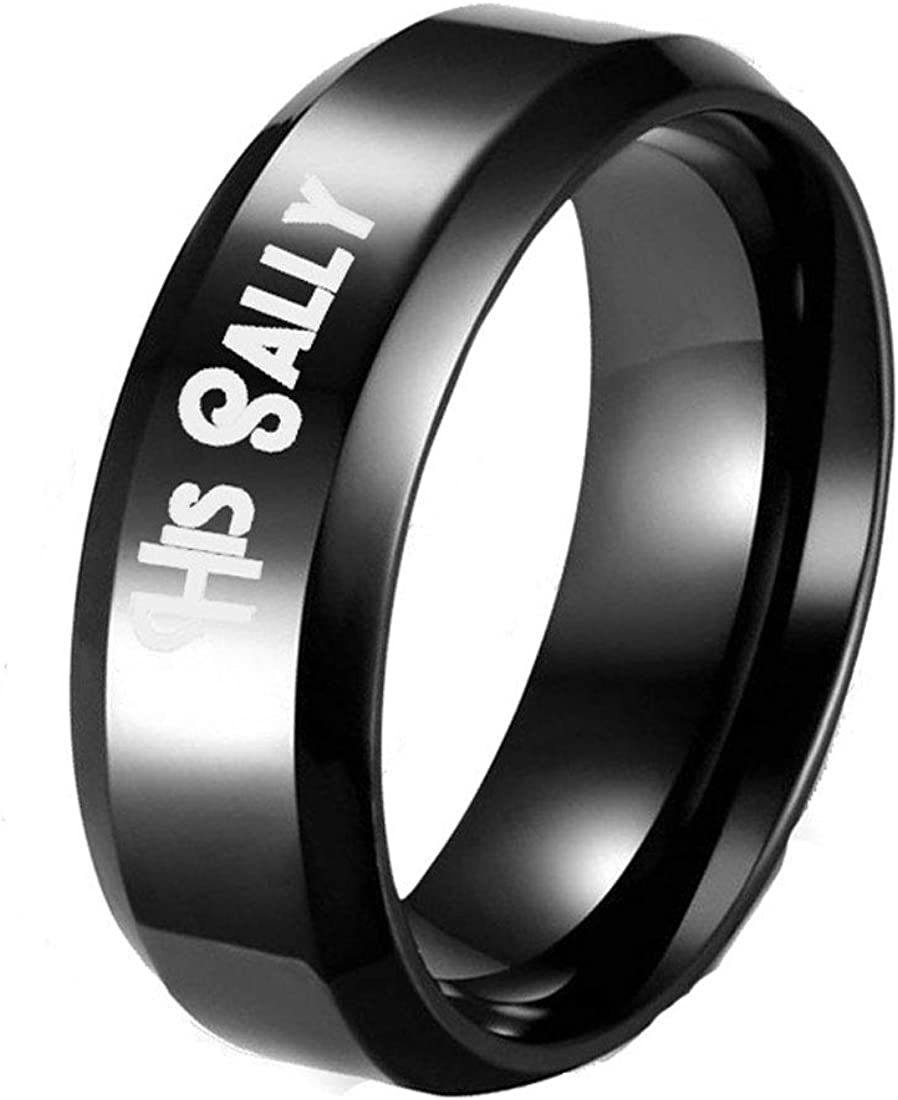 Wowsoul His and Her Rings for Couples Promise Rings Wedding Bands with Box Stainless Steel Comfort Fit