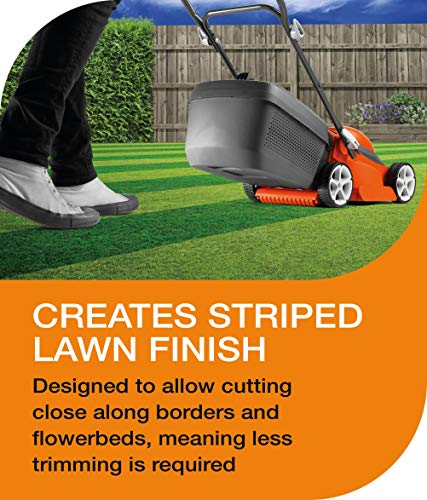 Flymo EasiStore 380R Electric Rotary Lawn Mower - 38 cm Cutting Width, 45 Litre Grass Box, Close Edge Cutting, Rear Roller, Central Height Adjust, Space Saving Storage Features