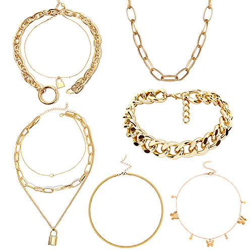 PINGPING-P 7 PCS Layering Chain Choker Necklace 14K Gold Plated Dainty with Butterfly Lock Heart Pendant Snake Chain Dainty Necklace Link Choker Necklaces Sets for Women Jewelry