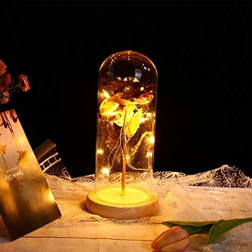 Belle en het beest Rode roos in een glazen koepel met LED-licht en voet voor Valentijnsdag Moederdaggeschenken Gratis schip, B, China