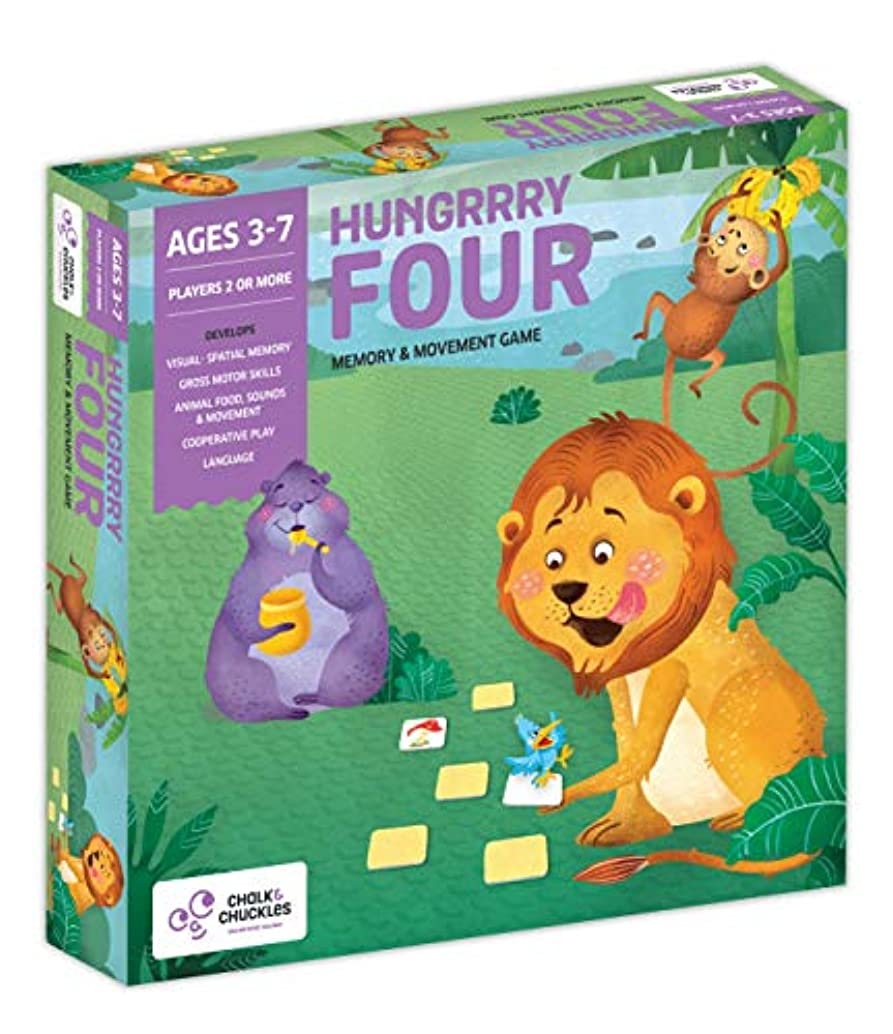 Chalk and Chuckles Hungrrry Four Preschooler Memory and Movement Game