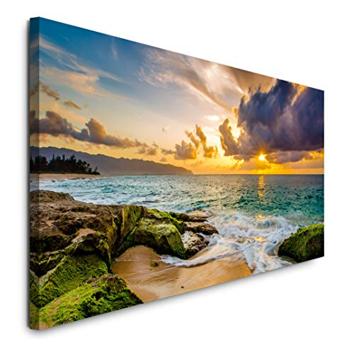 Paul Sinus Art GmbH Hawaii Küstenlandschaft 120x 50cm Panorama Leinwand Bild XXL Format Wandbilder Wohnzimmer Wohnung Deko Kunstdrucke